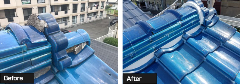 東京都中野区 瓦屋根棟の取り直し 漆喰補修