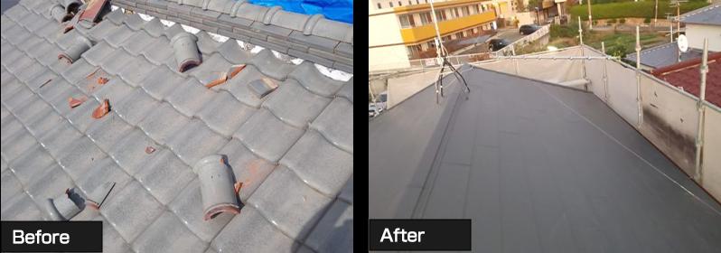 東京都世田谷区 葺き替え工事 軽量ガルバリウム鋼板