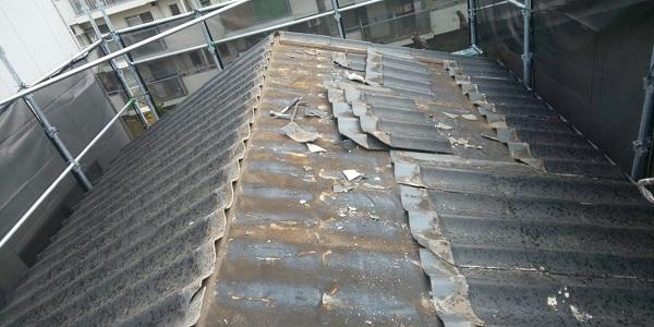 東京都中野区 屋根葺き替え工事 スレート屋根 アスベスト ガルバリウム鋼板 (2)