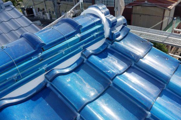東京都中野区 瓦屋根 棟の取り直し 漆喰補修 (2)