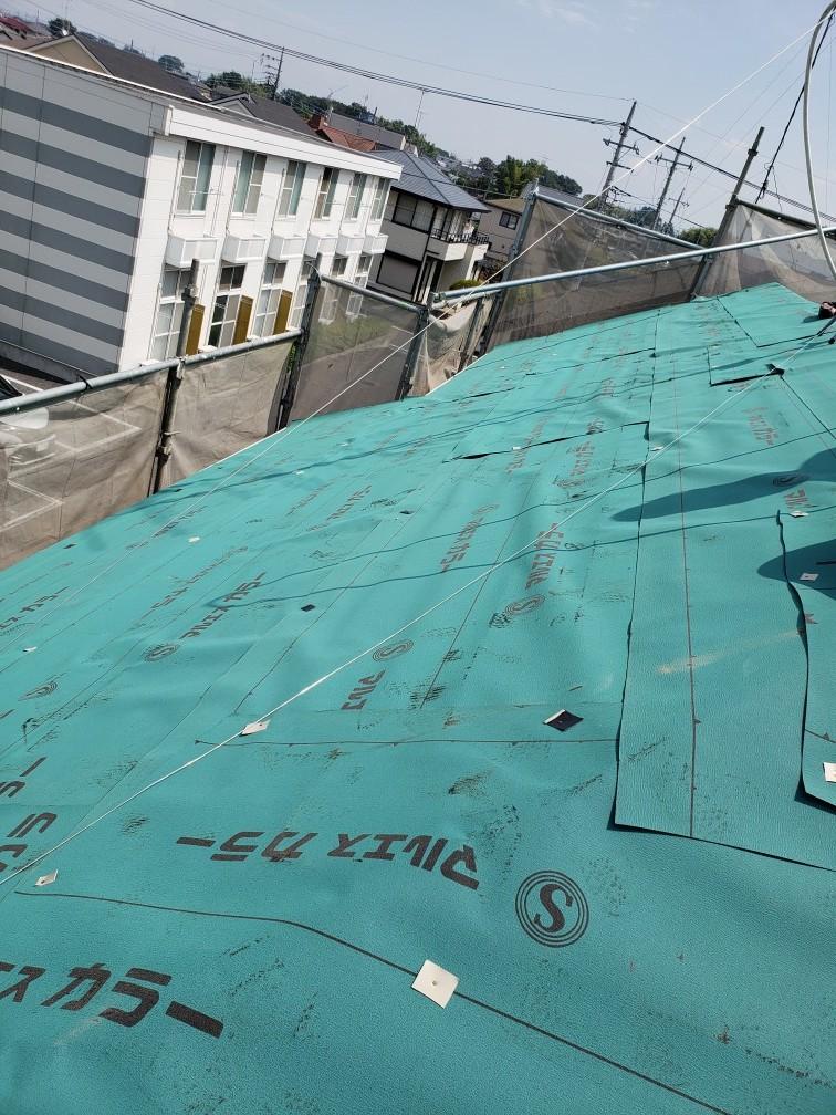 東京都中野区 屋根カバー工法 雪止め撤去 下葺き(アスファルトルーフィング) (3)