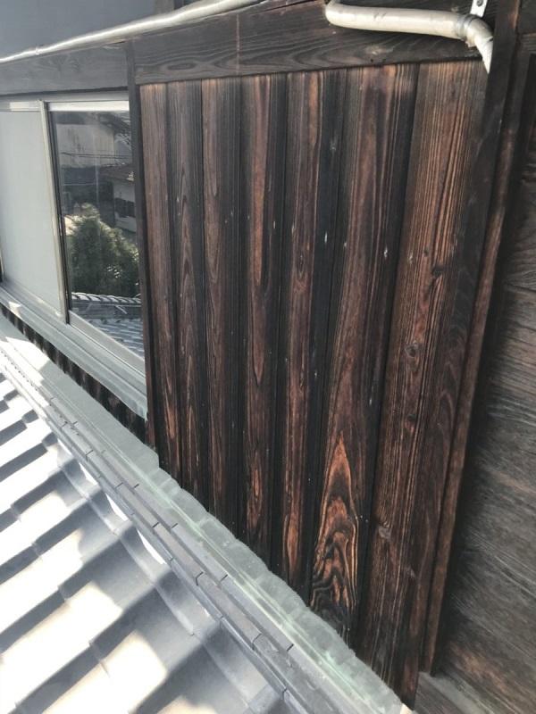 東京都杉並区 焼杉(焼板)の張替え工事 (1)
