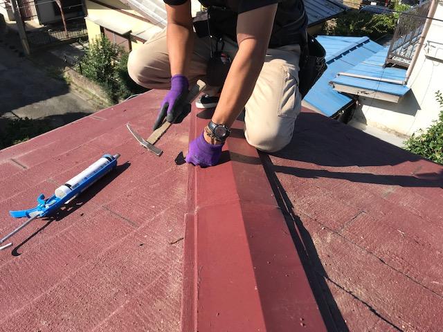 東京都世田谷区 屋根板金工事 スレート屋根 棟包み板金の修理 (3)
