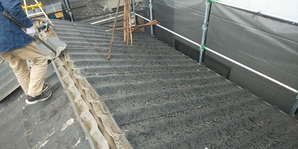 東京都中野区 屋根葺き替え工事 スレート屋根 アスベスト ガルバリウム鋼板