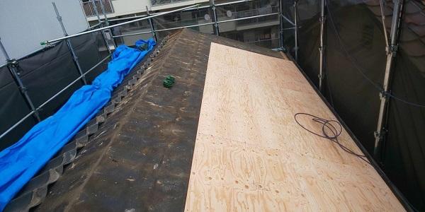 東京都中野区 屋根葺き替え工事 スレート屋根 アスベスト ガルバリウム鋼板 (3)