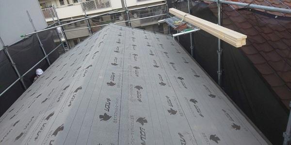 東京都中野区 屋根葺き替え工事 スレート屋根 アスベスト ガルバリウム鋼板 (5)