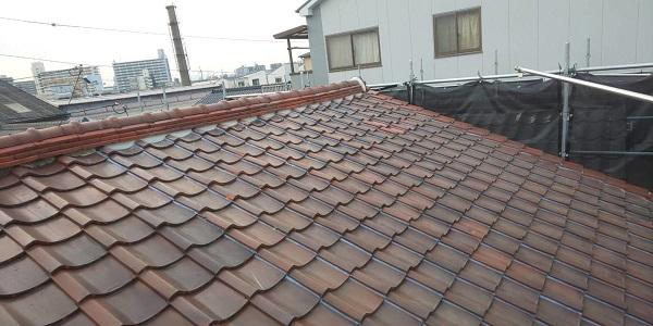 東京都中野区 屋根工事 瓦屋根・漆喰工事 瓦工事完了 (2)