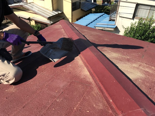 東京都世田谷区 屋根板金工事 スレート屋根 棟包み板金の修理 (4)