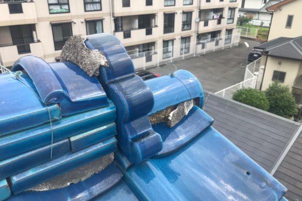 東京都中野区 瓦屋根 棟の取り直し 漆喰補修 (1)