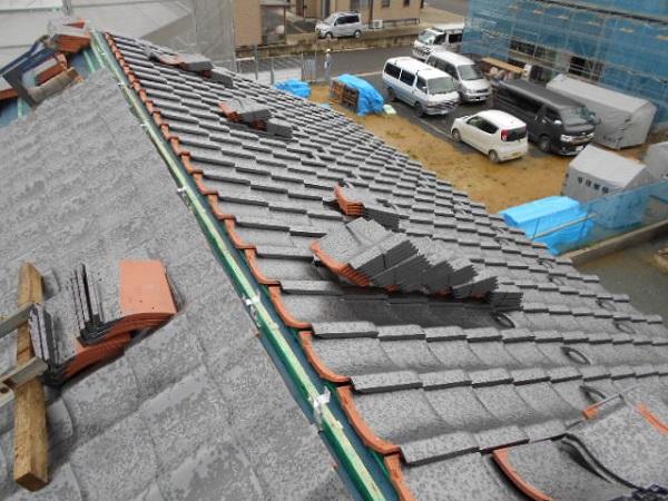 東京都中野区 和形瓦(ハイシルバー)葺き直し工事 (3)