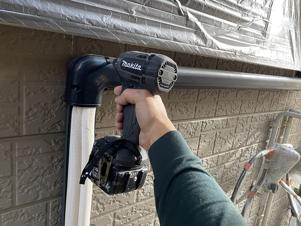 東京都杉並区 外壁塗装 下地処理 養生作業 (3)