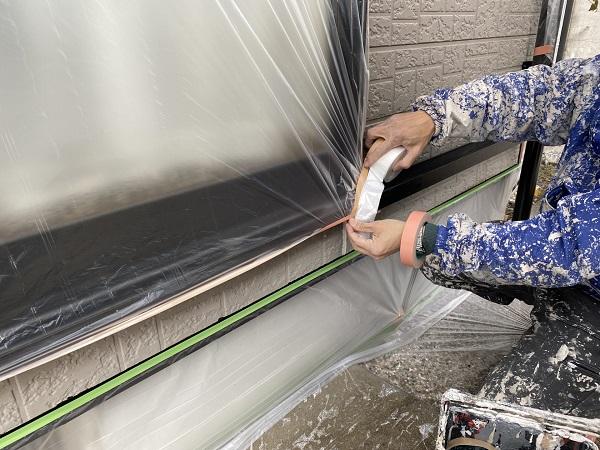 東京都杉並区 外壁塗装 下地処理 養生作業 (2)