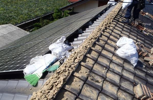 東京都中野区 瓦屋根・漆喰工事 瓦に歪み 棟瓦積み直し工事 (2)