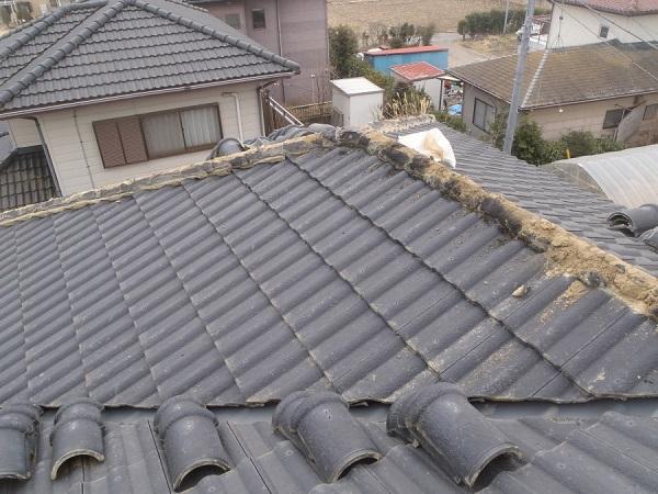 東京都世田谷区 瓦屋根・漆喰工事 既存、棟瓦外し 漆喰撤去 (4)