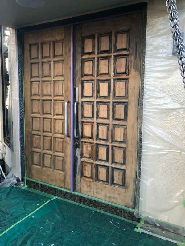 東京都世田谷区 玄関ドア塗装 ケレン (5)