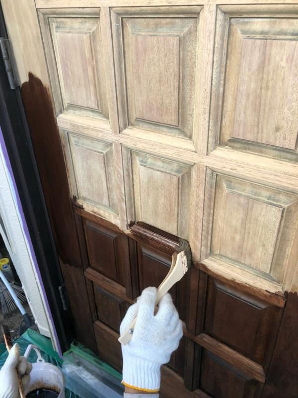 東京都世田谷区 玄関ドア塗装 ケレン (4)