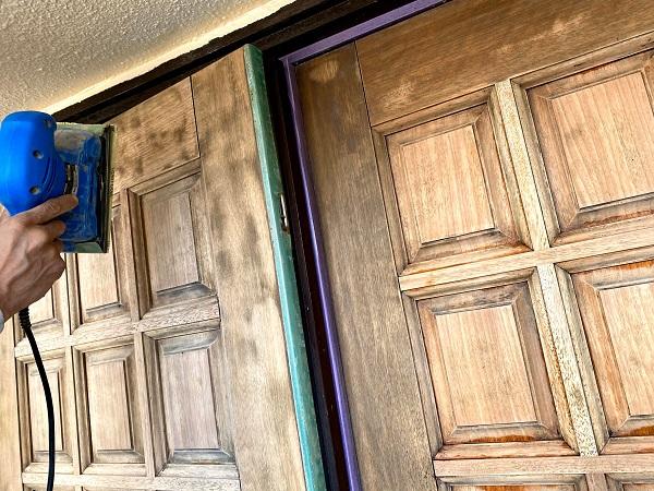 東京都世田谷区 玄関ドア塗装 ケレン (10)