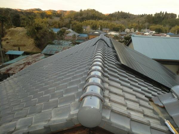 東京都中野区 和形瓦屋根の棟瓦取り直し工事 (5)