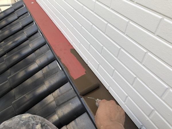 東京都中野区 外壁塗装 外壁中塗り 上塗り作業 (6)