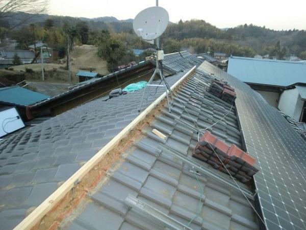 東京都中野区 和形瓦屋根の棟瓦取り直し工事 (3)