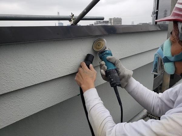 東京都世田谷区 外壁塗装・屋根塗装・防水工事 付帯部塗装 鼻隠し 階段 雨樋 (5)