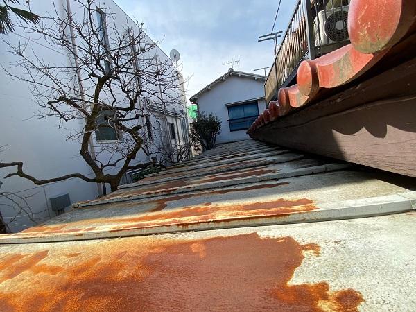 東京都杉並区 下屋葺き替え工事 外壁塗装 雨樋交換 屋根材撤去 ルーフィング PカラーEX+ (7)