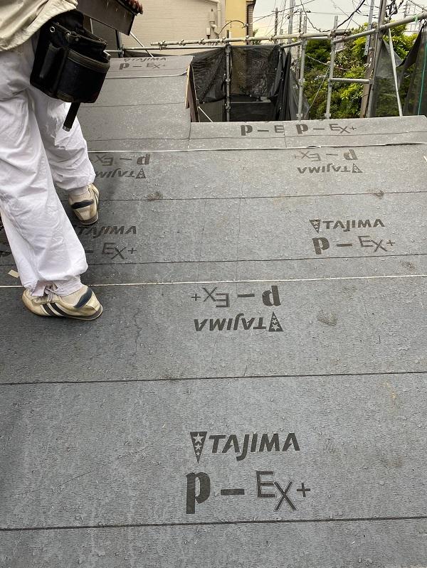 東京都杉並区 下屋葺き替え工事 外壁塗装 雨樋交換 屋根材撤去 ルーフィング PカラーEX+ (2)
