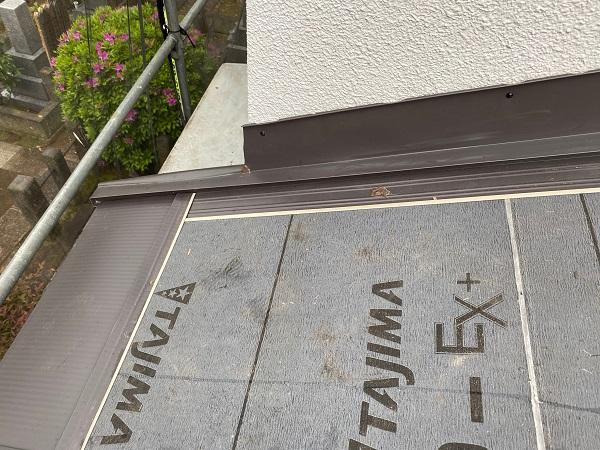 東京都杉並区 下屋葺き替え工事 外壁塗装 雨樋交換 屋根材撤去 ルーフィング PカラーEX+ (1)