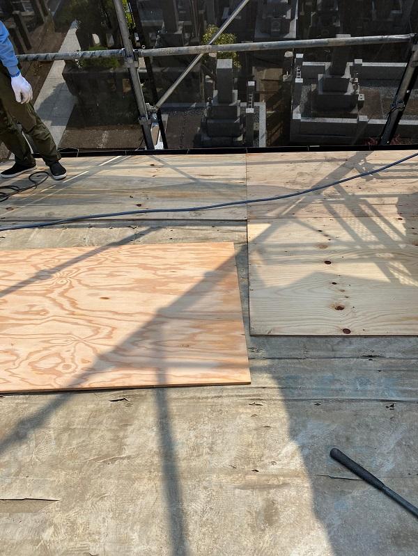 東京都杉並区 下屋葺き替え工事 外壁塗装 雨樋交換 屋根材撤去 ルーフィング PカラーEX+ (5)