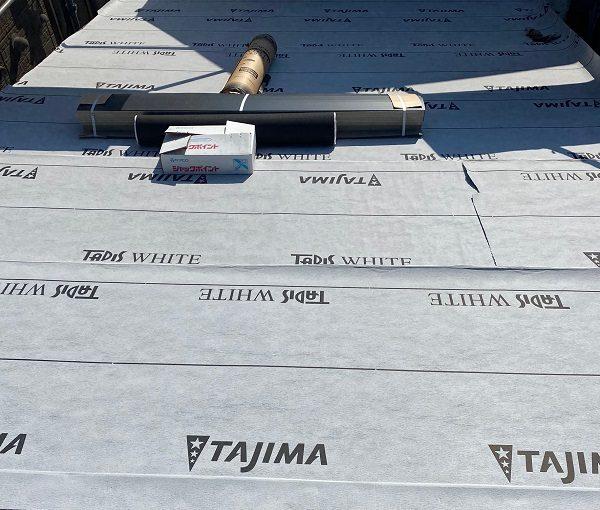 東京都中野区 屋根葺き替え工事 野地板の設置 F☆☆☆☆の構造用合板 田島ルーフィング タディスホワイト (1)