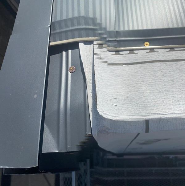 東京都中野区 屋根葺き替え工事 ガルバリウム鋼板 貫板 棟板金 スクリュービス (2)
