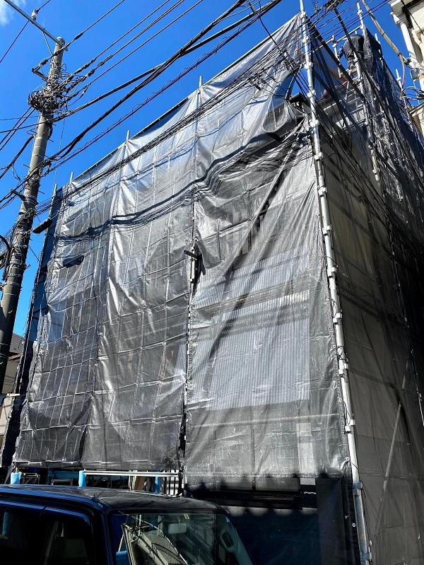 東京都世田谷区 屋根葺き替え工事・外壁塗装・付帯部塗装 近隣の方々へのご挨拶 足場設置 飛散防止ネット