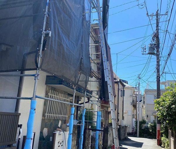 東京都中野区 屋根葺き替え工事 足場設置 既存屋根材の撤去 (3)