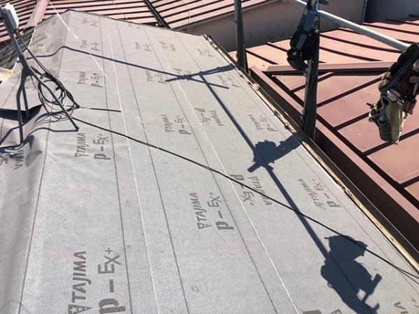 東京都中野区 H様邸 瓦屋根・漆喰工事 防水シート(ルーフィング・下葺き材) PカラーEX+ (3)