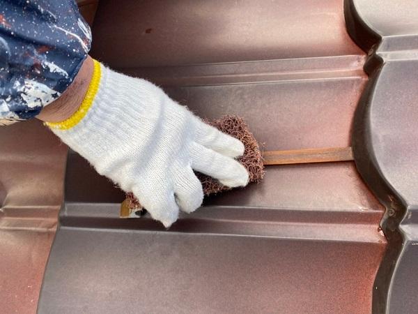 東京都大田区 N様邸 屋根塗装 下地処理 ケレン作業 高圧洗浄 (7)