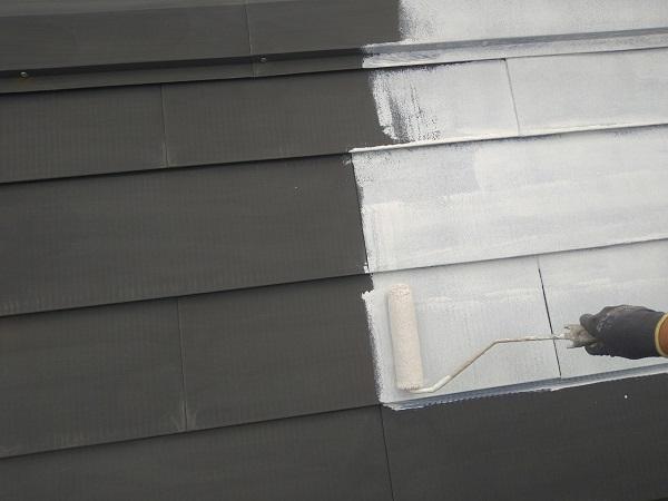 東京都中野区 T様邸 屋根塗装 破風板板金巻き 雪止めとは 下塗り (3)