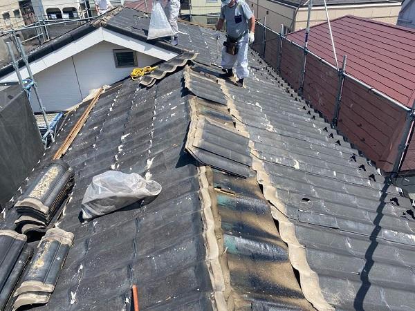 東京都足立区 M様邸 屋根葺き替え工事 既存屋根材撤去 近隣への配慮について (6)