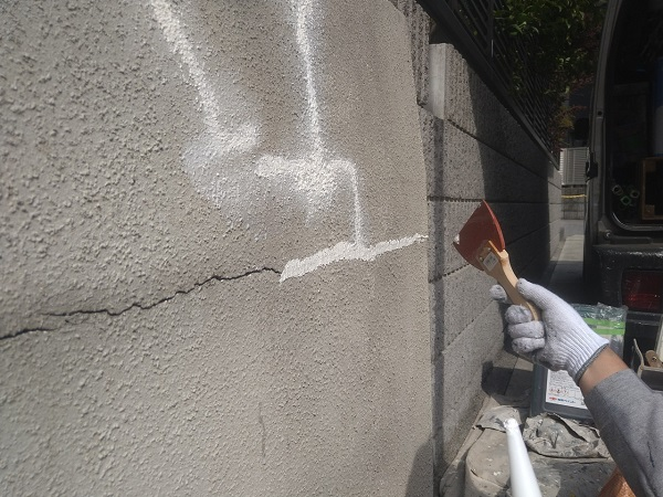 東京都新宿区 M様邸 基礎補修 シーリング工事 ひび割れ(クラック)の補修 シーリングによる補修 (12)