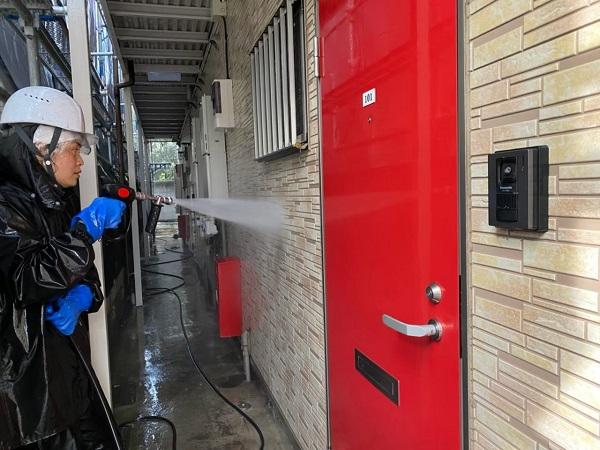 東京都大田区 アパート 屋根塗装・外壁塗装 下地処理 高圧洗浄 (7)