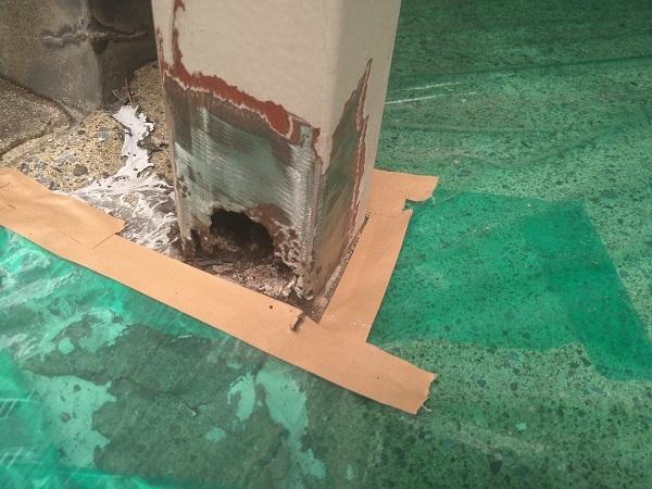 東京都大田区 アパート 屋根塗装・外壁塗装・付帯部塗装 ガス管カバー塗装 鉄骨柱塗装 (3)