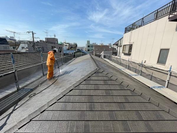 東京都大田区 アパート 屋根塗装・外壁塗装 下地処理 高圧洗浄 (8)