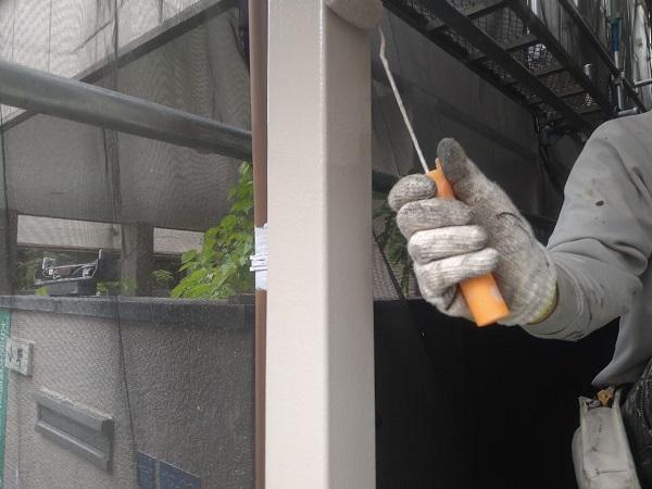 東京都大田区 アパート 屋根塗装・外壁塗装・付帯部塗装 ガス管カバー塗装 鉄骨柱塗装 (9)