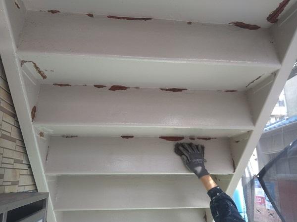東京都大田区 アパート 屋根塗装・外壁塗装・付帯部塗装 鉄骨階段補修 (6)