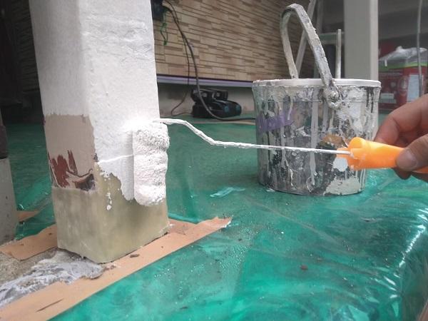 東京都大田区 アパート 屋根塗装・外壁塗装・付帯部塗装 ガス管カバー塗装 鉄骨柱塗装 (4)