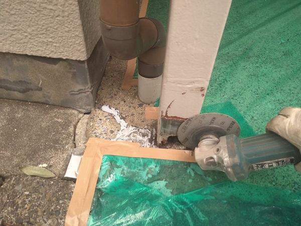 東京都大田区 アパート 屋根塗装・外壁塗装・付帯部塗装 ガス管カバー塗装 鉄骨柱塗装 (2)