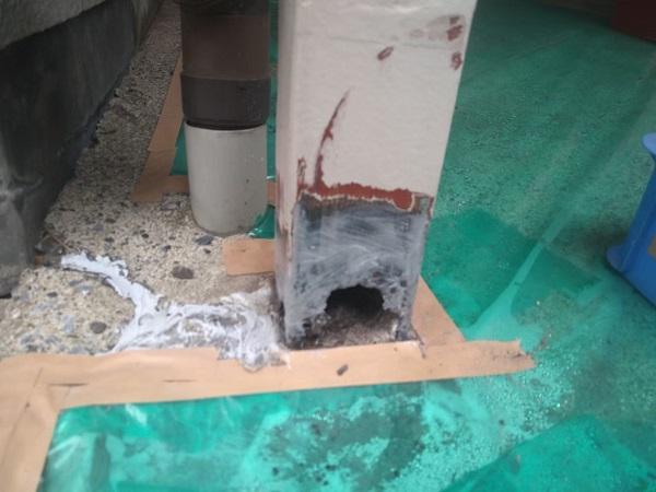 東京都大田区 アパート 屋根塗装・外壁塗装・付帯部塗装 ガス管カバー塗装 鉄骨柱塗装 (5)